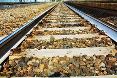 Sparkling straight railway track Stock Photos