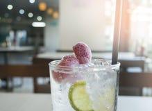 Sparkling strawberry soda. Refresh drink Stock Photos