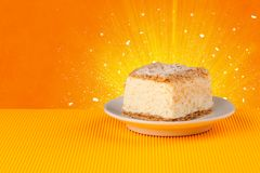 Sparkling tasteful home made cake with coloful background. Sparkling tasteful home made sugar cake with coloful background Royalty Free Stock Image