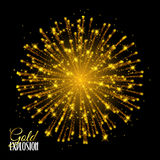 Sparkling texture Stardust sparks in explosion on black. Background. Festive Gold glitter particles effect. Shiny shape. Shining Motion Luxury Design. Holiday Stock Photos