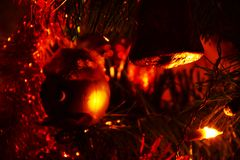 Sparkling tinsel and lights, background Stock Photography