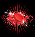 Sparkling Valentine Hearts Stock Images