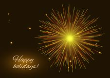 Vibrant golden red vector fireworks greeting background. Sparkling vibrant golden red vector fireworks greeting holidays background, copy space Stock Photo