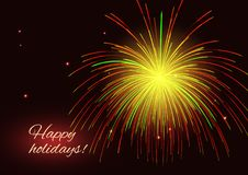 Red yellow  fireworks, copy space Royalty Free Stock Photo