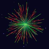 Red green fireworks New Year background. Sparkling vibrant vector red green fireworks. 4th of July Independence Day, New Year holidays background Royalty Free Stock Photography