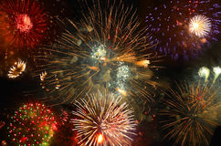 Sparkling volleys of fireworks Stock Photography