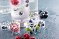 Sparkling water with berry and herb ice. Sparkling water with berry and mint ice cubes stock photo