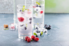 Sparkling water with berry and herb ice. Sparkling water with berry and mint ice cubes stock images