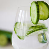 Sparkling Water with Cucumber in a Glass Stock Image