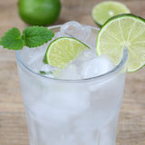 Sparkling water drink with ice cubes Stock Photo