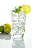 Sparkling water with ice cubes on white background Royalty Free Stock Photography
