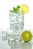 Sparkling water with ice cubes on white background Stock Photography