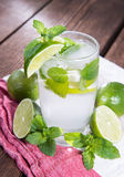 Sparkling Water with Limes and Mint Royalty Free Stock Image