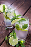Sparkling Water with Limes and Mint Stock Images