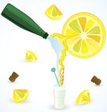 Sparkling water mixing with fresh lemon juice Stock Photos