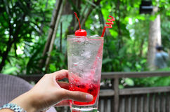 Sparkling water with raspberry soda in woman hand. Asian woman hand hold glass of raspberry cocktail soda, refreshing drink with blurred garden background Royalty Free Stock Photo