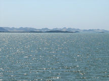 The sparkling waves on Lake Nasser. Royalty Free Stock Images