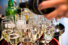 Sparkling whine  glasses. champagne Stock Images