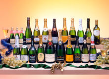 Sparkling white wine bottles Stock Images