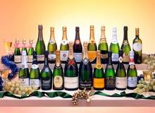 Sparkling white wine bottles stock images
