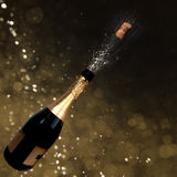 Sparkling wine. Explosion on blurry backgroud royalty free stock photo