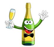 Sparkling wine bottle mascot character making toast isolated. On white Royalty Free Stock Photos