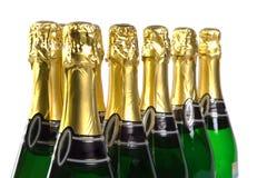 Sparkling wine bottles stock photos
