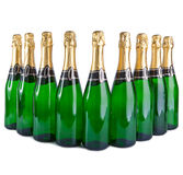 Sparkling wine bottles .Christmas still life on a white background Stock Photo