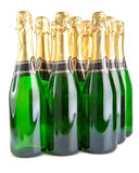 Sparkling wine bottles on a white background Royalty Free Stock Photos