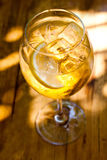 Sparkling wine cocktail in sunlights. champagne alcohol drink with ice cubes and citrus. Top view. Soft focus, shallow Royalty Free Stock Photo