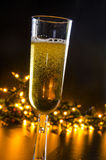 Sparkling Wine and Festive Lights Stock Image