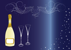 Sparkling wine and glasses Stock Photo