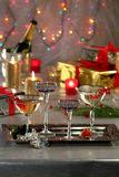 Sparkling wine glasses Stock Photography