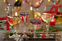 Sparkling wine glasses on luxurius background Stock Photography
