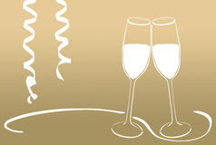 Sparkling wine glasses - New Years Eve Stock Photography