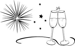 Sparkling wine glasses - New Years Eve Stock Photos