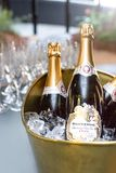 Sparkling wine in ice bucket. Johannesburg, South Africa - 11 September - 2018: Sparkling wine in ice bucket with glasses in the background royalty free stock photography