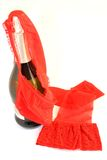 Sparkling wine and red lingerie Stock Photography