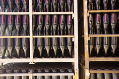 Sparkling wine secondary fermentation process Royalty Free Stock Images