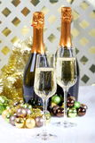Sparkling wine and wine glasses Royalty Free Stock Photography
