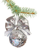 Sparkling Xmas ball on white background Royalty Free Stock Image