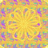 Sparkling yellow flower on a multicolor pastel background. Sparkling yellow flower multicolor pastel background illustration graphic design pattern seamless stock photography