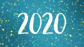 Sparkly blå gul för hälsningkort för lyckligt nytt år video 2020 royaltyfri illustrationer