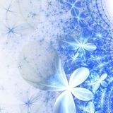 Sparkly blue fractal flowers. Digital artwork for creative graphic design Stock Photos