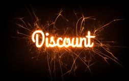 Sparkly DISCOUNT word on dark background. Stock Image