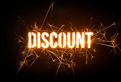 Sparkly DISCOUNT word on dark background. Stock Images