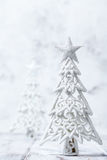 Sparkly glitter Christmas trees in silver and white. Royalty Free Stock Photo