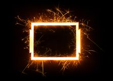 Sparkly glowing empty rectangle frame Stock Photos