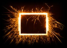 Sparkly glowing empty rectangle frame Stock Photo