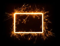Sparkly glowing empty rounded corner rectangle frame Royalty Free Stock Photo
